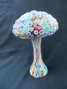 "Mushroom shaped Italian Venetian Murano Millefiori Art Glass Sculpture 9"""