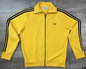 Vintage Adidas Track Jacket Yellow With Logo 3 Stripes Men's Size Medium
