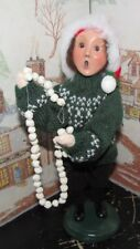Byers Choice Christmas Tradition Boy with String Popcorn Decorating Tree 2005 *
