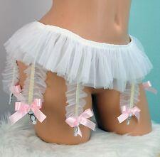 """White skirted bridal 6 strap frilly poofy sissy garter TUTU bridal skirt 28-46"""""""