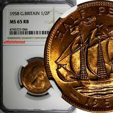 GREAT BRITAIN Elizabeth II 1958 1/2 Penny NGC MS65 RB  RED TONING KM# 896