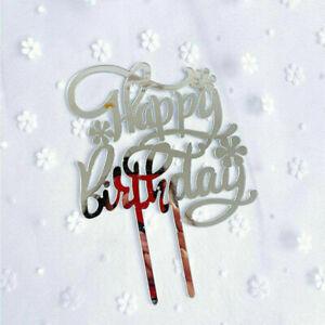 Acrylic Home Happy Birthday Decor Baking Cake Topper Card Party Decor Supplies