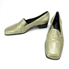 Amalfi by Rangoni Round Toe Patent Leather Loafer Heel Green Italy Size 7 S