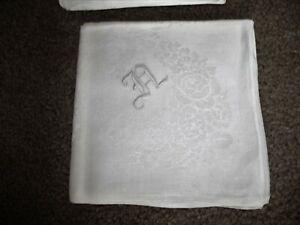 Vintage White Damask Pure Irish Linen Tablecloth/12 Dinner Napkins + Linen Bags