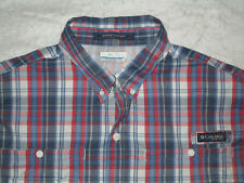 Columbia Pfg Super Tamiami Men'S Fishing Vented Shirt Xl Blue Red White Polyeste