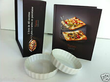 Coffret 1 livre de recettes + 2 plats à tartes en porcelaine blanche / Pie Plate