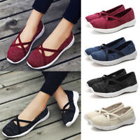 Women's Casual Sneakers Pull On Breathable Flat Slip On Pumps Shoes Size 5-8.5