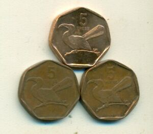 3 DIFFERENT 5 THEBE COINS w/ TOKO BIRD from BOTSWANA (1998, 2002 & 2007)
