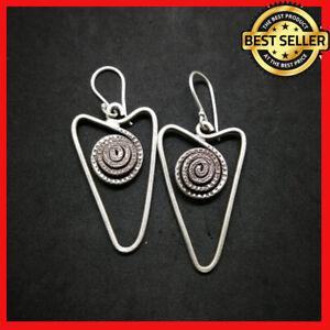 Fine 925 Silver Earrings Vintage Spiral Texture hangin Arrow Down ER1135 AUCmon