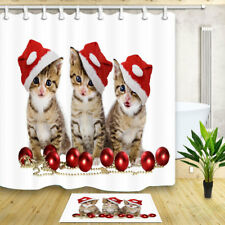 Cute Cats with Christmas Hat Ball Bathroom Shower Curtain Waterproof Fabric 71""
