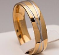 6mm Stainless Steel Silver & Gold Plated Mens & Womens Wedding Band Comfort Ring