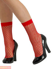 Fishnet Socks - Ladies Fancy Dress Accessory Red Short Stockings Adults Costume