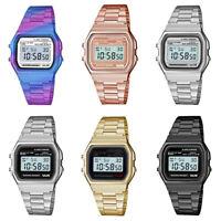 33mm Men's Women Sport Retro Digital Stainless Steel Band LCD Display Wristwatch