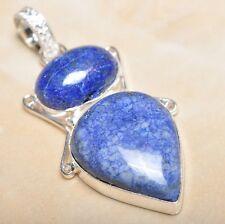 "Handmade Pyrite Lapis Lazuli Jasper 925 Sterling Silver 2.5"" Pendant #P10449"