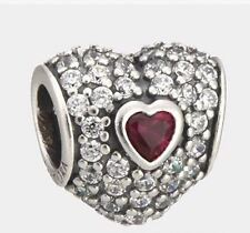 Pandora Charm In My Heart Clear Cubic Zirconia & Synthetic w/ Pandora Gift Box