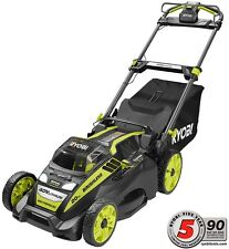 "Cordless Electric Lawn Mower Self Propelled Charger 5.0 Ah Battery 20"" 40V Ryobi"