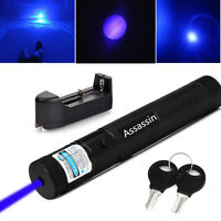 5mw 405nm Blue Purple Laser Pointer Cat Toy Powerful Laser Pen + Battery+Charger