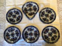 ~RARE~ Antique Flow Blue & Gilded Plate Set c1876-1905 (3 With Damage)
