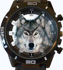 White Wolf Stare Trendy Sports Style Unisex Gift Wrist Watch