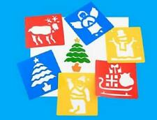 Christmas Plastic Washable Stencils - Reindeer Santa Snowman Angel Sleigh Tree