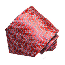 Men's red and gray  geometric pattern  woven tie