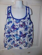 JUSTICE BUTTERFLY PRINT FLORAL LACE BLUE TANK TOP SIZE 16 GIRL'S EUC