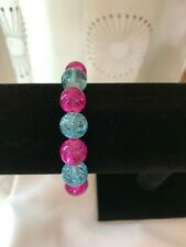STRETCH BRACELET / BEADED BRACELET - Pink & Blue Beads - JUST 1 LEFT!