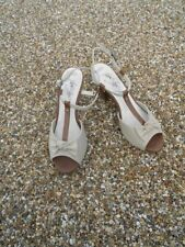 "Size 7.5 Nude Marks & Spencer Gorgeous Peep Toe 4"" Heel T Bar Sandals  £25 New"