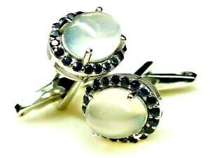 New 925 sterling silver natural moonstone, Sapphire gemstone unisex Cufflinks