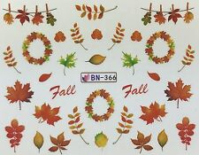 Nail Art Water Decals Fall Autumn Leaves Thanksgiving BN366