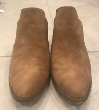 "Sugar ""tag"" Brown Camel mules slip in's block heel boot booties style size 7M"
