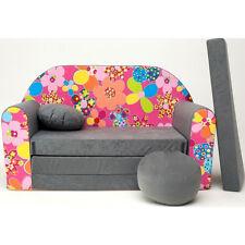 A12 Kindersofa 3 in 1 Baby Sofa Minicouch Set Sitzkissen Matratze (grau Blumen)