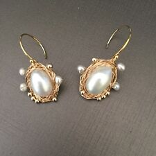 100% Baroque freshwater pearl 14K Gold Filled earrings Original works Australia