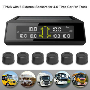 Bus Truck Car Tire Pressure Monitoring System Solar TPMS+6 External Sensor &Nuts