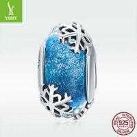 Fashion 925 Sterling Silver Winter Snow Charm Sky Blue Glass Bead For Bracelet
