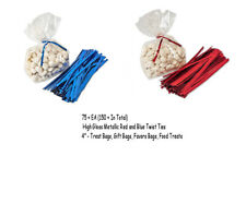 """Metallic Red and Blue 4"""" Twist Ties 150+ Favor Candy Bag Patriotic 4th of July"""