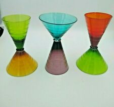 Hourglass Martini Glass Double Opening Etched Colored Drinkware Retro with Flare