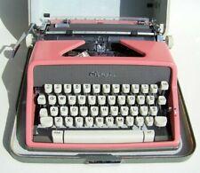 Beautiful 1962 Olympia De Luxe SM-7 Pink Manual Typewriter & Case, Key, Brushes