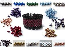 5mm TWO DUO HOLE CZECH GLASS VARIO DIAMOND BEADS - 28 COLOURS - 5G (APROX 50PCS)