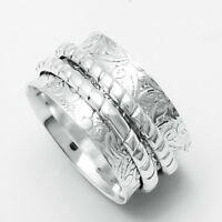 Solid 925 Sterling Silver Wide Band Handmade Spinner Ring Jewelry Size-7 B-0112