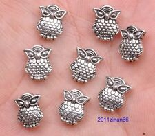 30 pcs Tibetan Silver Double sided owl charm loose beads pendant 8x10mm