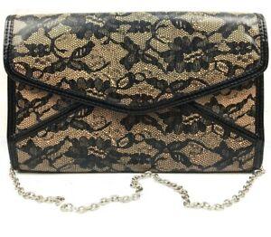 Aldo Black Lace Lace-Print Beige Envelope Clutch Purse EUC