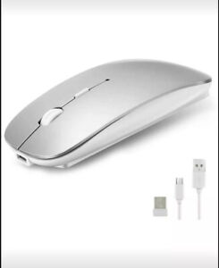 Bluetooth Mouse (Silver) For Macbook 2.4Ghz, Rechargeable, Slim, & Silent NIB