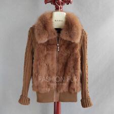 Knitted Rabbit Fur Fox Fur Collar Women Winter Warm Coat Outwear Jacket Vest New