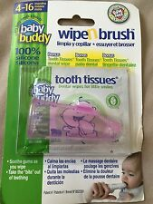 Baby Buddy Wipe N Brush 100% Silicone Toothbrush & Tooth Wipe - Pink