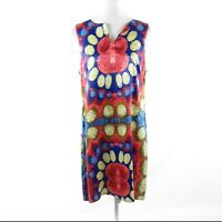 Dark blue red geometric TRACY NEGOSHIAN sleeveless shift dress XL