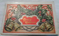 Holiday Postcard Merry Christmas Holly Bells Embossed VTG