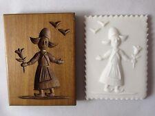 VINTAGE DILLON WOODEN Springerle Butter Cast Cookie Stamp Press Mold  DUTCH GIRL