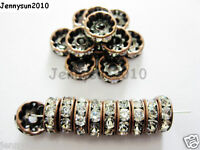 100Pc Czech Crystal Rhinestone Copper Rondelle Spacer Beads 4mm 5mm 6mm 8mm 10mm