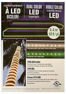 Dual Color LED Rope Light Set 210 LED Bulbs 18ft Great for Any Occasion